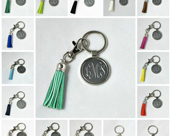 Personalized Engraved Monogrammed Keychain With Tassel - 20 Color Choices of Tassel; graduation engraved key chain; bridesmaid gift