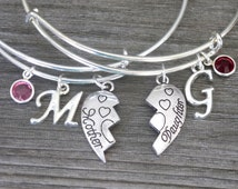 Mother Daughter, Mother Daughter Bangles, Matching Mother Daughter Bracelets, Initial Mother Daughter, Mother Baby Elephant, Half Hearts