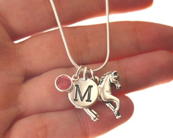 Horse Necklace, Horse Jewelry Gifts, Horse Charm Necklace, Personalized Horse Necklace, Letter Birthstone, Silver Horse Necklace, Simple