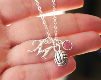 Volleyball Necklace, Personalized Volleyball, Letter Birthstone, Silver Volleyball, Gifts for Girl Volleyball Player, Volleyball, Custom