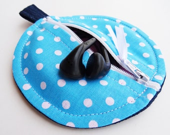 Blue Ear buds Pouch, Blue White Polka Dots Cotton, Cute Zip Pouch, Round Pouch, Keyring Purse, Zip Pouch, Coin Pouch, Earphone Fabric Case