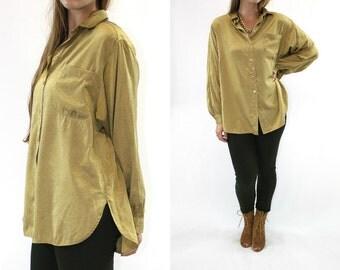 Vintage 80's Button-up German Blouse // Vintage blouse, Vintage button up, long sleeve blouse, shimmer blouse, sheen, vintage work blouse