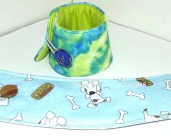 "Puppy Bows~2 over the collar dog pet bandana 8""-9"" neck  blue green tie dye~US Seller"