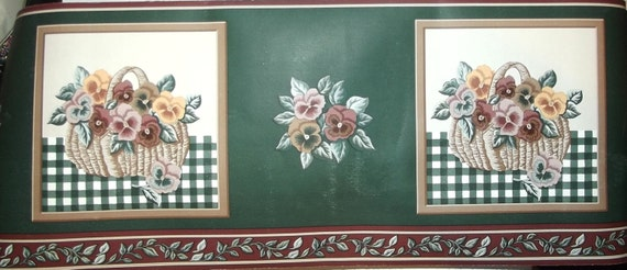 Puppy Bows ~ Wallpaper border hunter green pink tan burgundy flower basket THREE rolls 4 yards each prepasted