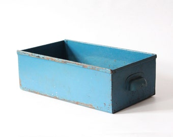 Vintage metal drawer industrial box light blue storage box with handle