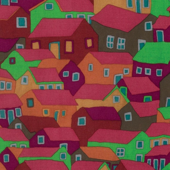 SHANTY TOWN Autumn  by Brandon Mably for Kaffe Fassett Collective Sold in 1/2  yard increments