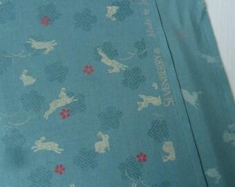 Turquoise Japanese Cotton Fabric-Rabbits *per fat quarter*
