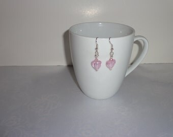 Pink Heart Lampwork And Silver Earrings