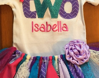 Pink, Purple, and Turquoise Birthday Tutu Outfit