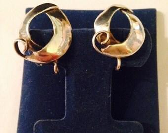 Vintage Sterling Silver Mod Art Inspired Screw Back Earrings