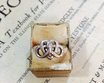 Vintage Celtic Heart Knot Sterling Silver Ring - Size 8