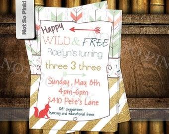 Happy, Wild, Free & Three Birthday Invitation