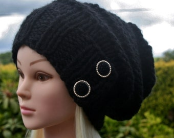 Black cap- Knit Hat- Womens Hat-  Slouchy Beanie hat with 2 elegant buttons- Black hat- Chunky winter hat- Womens Accessories