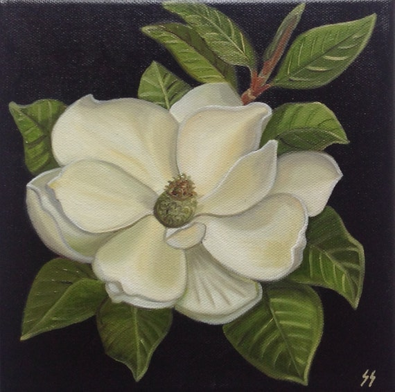 Items similar to Oil Painting of Magnolia, Still Life ...