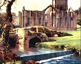 Vintage British Rail Fountains Abbey Yorkshire Railway Poster A3/A2 Print