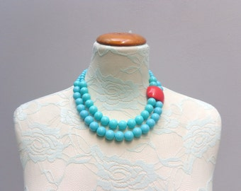 Turquoise red chunky necklace modern tribal statement necklace multi strand