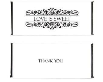 Elegant Wedding Candy Bar Wrapper, Printable Candybar Wrappers, Chocolate Bar Wrappers, Wedding CandyBar Wrappers,Digital Wrappers