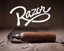 RAZOR: Double Edge (DE) Safety Razor – Beard grooming or wet shaving, solid walnut wood
