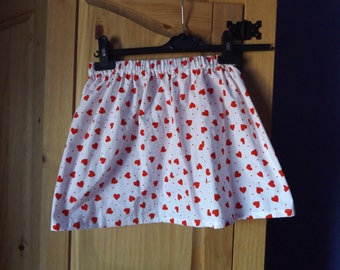 Girls summer heart print cotton skirt
