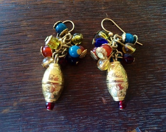 Vintage Bohemian Gold Plated Beads and Multicolor Bead Dangle Earrings
