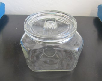 1940s Funky 3 sided Clear Glass Jar with Lid