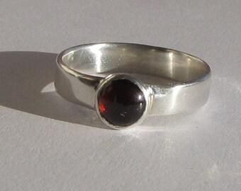 Argentium Silver Garnet Cabochon Ring