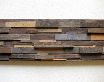 """Reclaimed Barn Wood Abstract Wall Art, Contemporary Simplicity, Rustic Elegance -- 37"""" Wide -- Hang Vertical or Horizontal"""