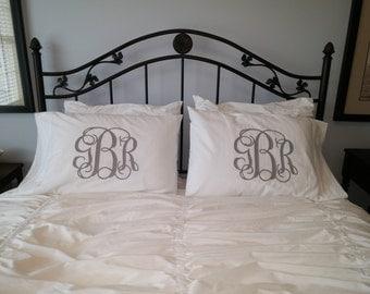 Set of 2 Monogram  Standard Pillow Cases