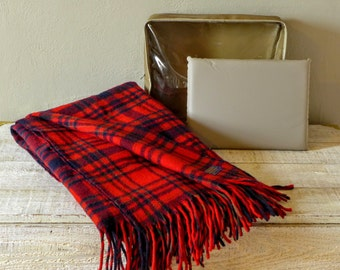 Vintage Red Plaid Pendleton Blanket with Seat Cushion and Bag (ROBE IN A BAG!)
