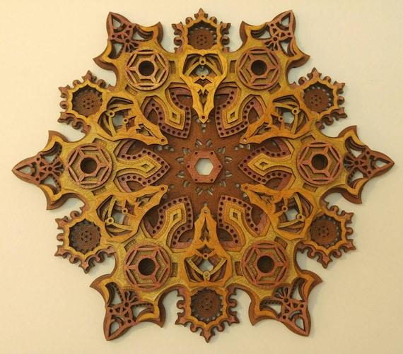 Mandala multicouche Laser Cut Art visionnaire de la Sculpture sur bois la géométrie sacrée