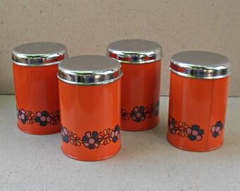 Vintage orange  Brabantia canisters Holland 1970s, vintage kitchen canisters , vintage canister set.