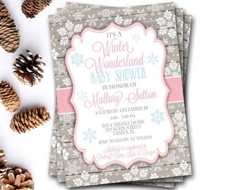 Winter Wonderland Baby Shower Invitation, Winter Baby Shower, Snowflake Baby  Shower Invitation, Snowflake