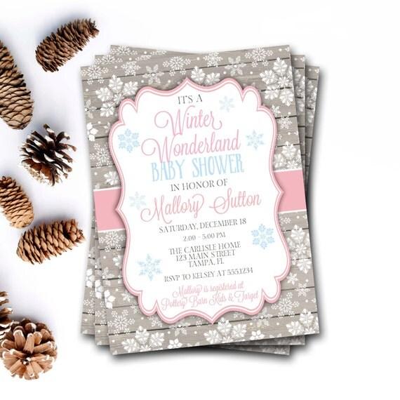 wonderland baby shower invitation winter baby shower snowflake baby