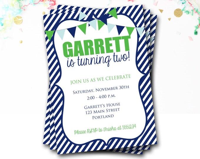 Navy And Green Birthday Invitation, Preppy Invitation, Bunting Invitation, Flag Invite, First Birthday Party, Boy Invitation, DIY Printable
