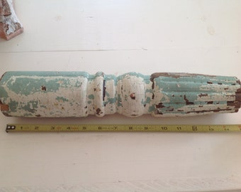 Architectural Salvage Railing Post Piece Chippy Teal Blue White Paint