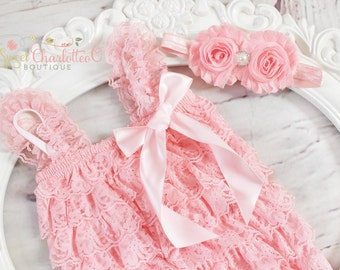 SET-Pink Lace Romper And Headband Set,Petti lace romper,Newborn Photo Prop,1st birthday outfit,lace romper set,newborn romper
