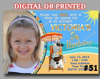 Frozen Olaf in Summer Invitation, YOU PRINT or PRINTED, Luau Pool Party, Birthday Party Invitations Olaf Beach birthday party, pool party