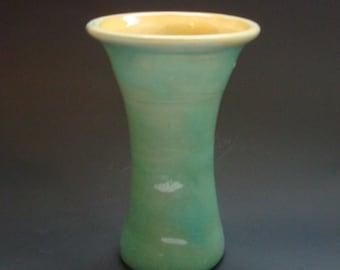 Pisgah Forest Handthrown Green & Yellow Vase