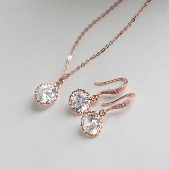 Rose gold diamond pendant jewelry set single diamond rose gold like this item aloadofball Image collections