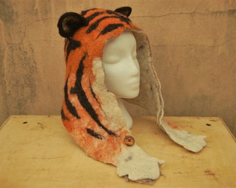 Tiger Hat - felted hat with ears - wool animal hood