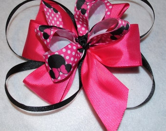 3-in-1 Hairbow, Minnie Mouse, Hot Pink and Black