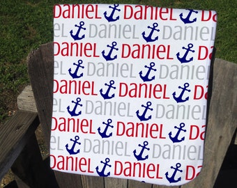 Personalized Nautical Baby Blanket with Anchors - Anchor Receiving Blanket - Boy Name Blanket - Infant Swaddling Blanket - Nautical Blanket
