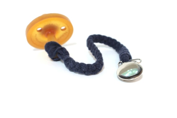 Universal Pacifier Clip / HEATHERED NAVY Braided Pacifier Clip / soothie / binky clip / pacifier holder