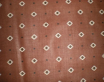 Vintage VIP Screen Print One piece 1 yard & 26 inches by Cranston Print Works Black Cross with Red Center on Brown Back Ground