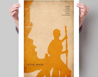 "STAR WARS The Force Awakens Inspired Rey Minimalist Movie Poster Print - 13""x19"" (33x48 cm)"