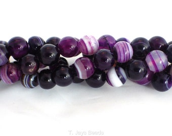 10mm Purple Striped Agate Beads - approximately 38 Beads
