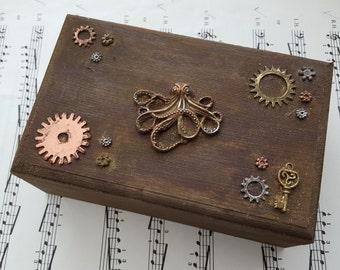 Steampunk jewellery box - trinket box, octopus cogs gears - brown wooden box