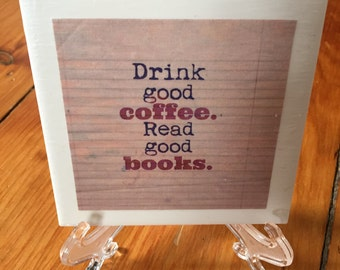 Books and Coffee Tile Coaster