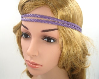 Purple Boho Headband,Purple,Leather Braided Bohemian Tribal Hippie Headband,Purple Double Strand Headband,Girls Women Men Adult Hair band