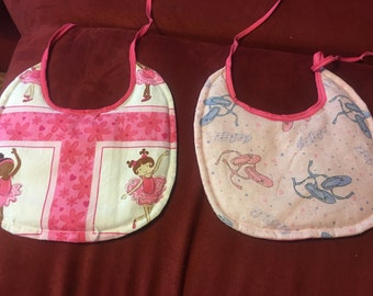 Ballerinas and ballerina shoes style baby toe back bibs sold as pairs